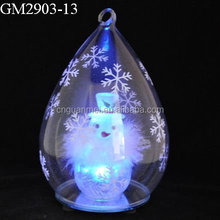 fashion glass christimas balls names with snowman inside wholesale