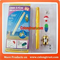 Foldable 1 meter Fishing Rod in Pen Golden or Silver LT-7409