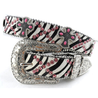 Cowgirl Western Hot Pink Strass Studded zebra stripe Horse Hair girls rhinestone belts