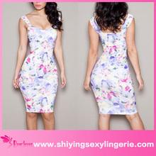 المرأة الجملة الأزهار 2015 أنيق جديد bodycon اللباس مصغرة صور الجنس الساخن