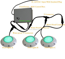 2015 New WiFi RGB Multicolored Music LED Swimming Pool Lights IP68 water proof controled by iPhone ipad or Android Smart Phone