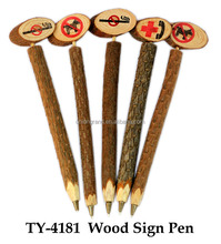 Carved Wood Pen with Prohibitory Sign