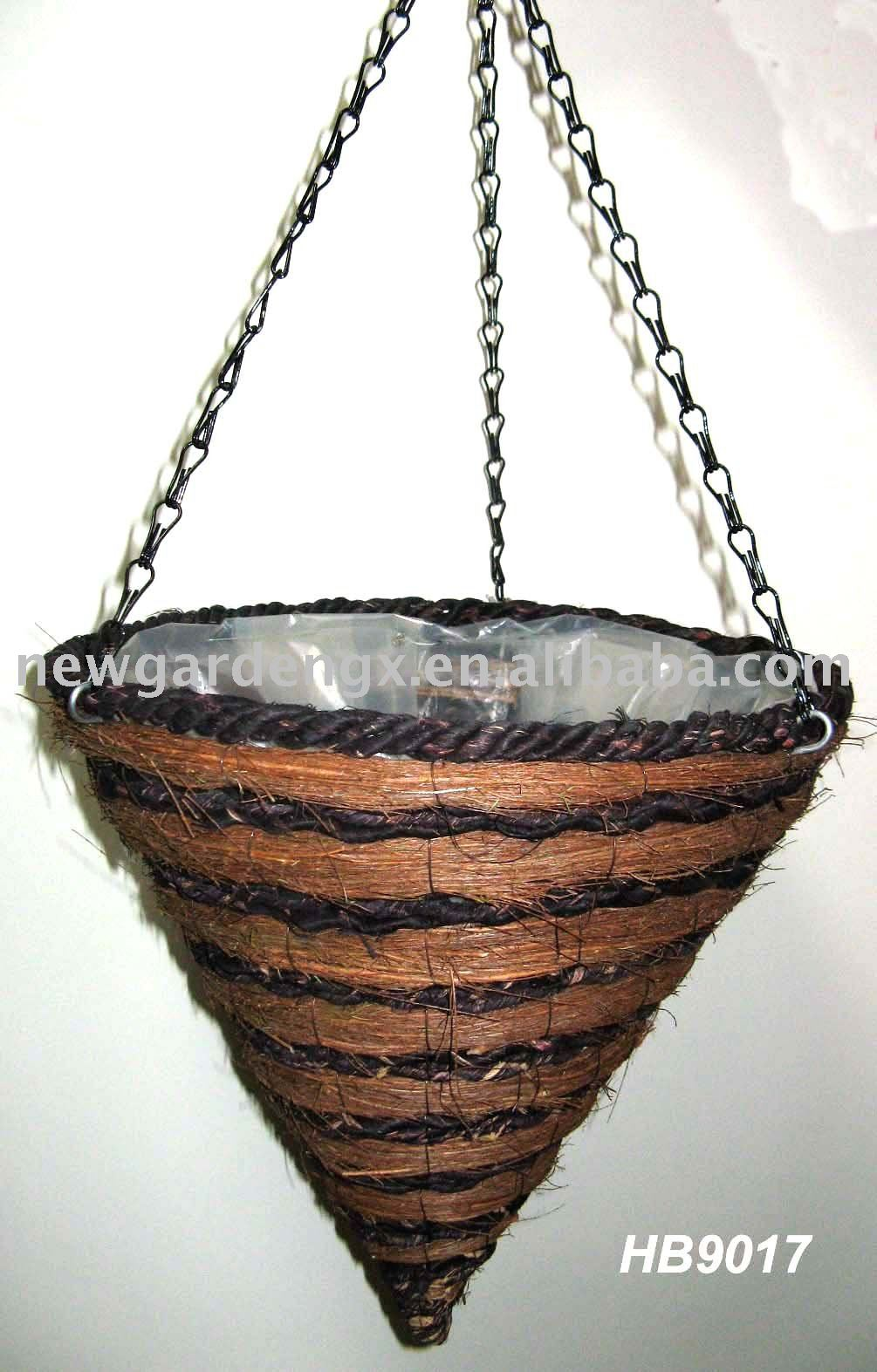 Hanging Flower Baskets Cone Shaped : Cone hanging basket rattan flower