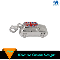 Mini Silver Tone UK Flag Enameled Car Charm