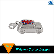 Mini Silver Tone UK Flag Enameled Car Charm