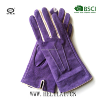 Helilai Fashion embroidery touch screen suede leather lady gloves