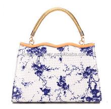China style handbag with blue and white porcelain pattern pu fashion shoulder bag everning bag