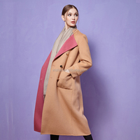 Double Faced Camel Office Cashmere Knee-Length Double-Breasted Fitted Slim Trench Coat