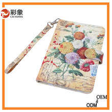 2015 New special design flower leather pad case with sublimation blank