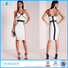 Wholesale contrast bandage midi dresses for office lady 2017 fashion boutique clothing