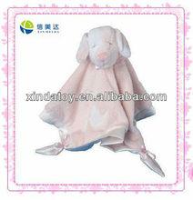 Plush pink rabbit baby blanket for baby