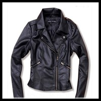Women Ladies Vintage PU Biker Motorcycle Soft Leather Zipper Black Jacket Coat