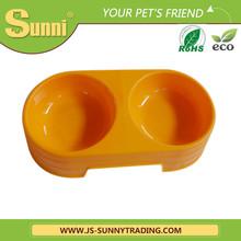 Double plastic pet food bowl