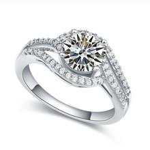 Cadena Allencoco Diamond joyería de la boda, 18 K oro blanco anillo de compromiso de anillo de compromiso
