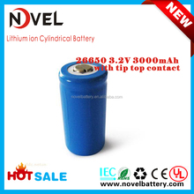 3.2V 3000mAh 26650 rechargeable LiFePO4 lithium battery