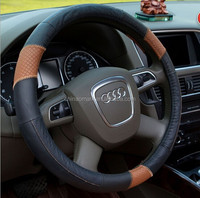 Leather stitching car steering wheel cover