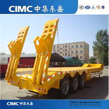 CIMC 50Tons Tri-axle Low Flatbed Truck Trailer, Excavator Carrier With Mechanical Ramps (Hydraulic Ramps Are Optional)