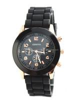 High quality black geneva silicone name brand wrist watch