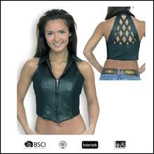 women leather sleeveless Vest