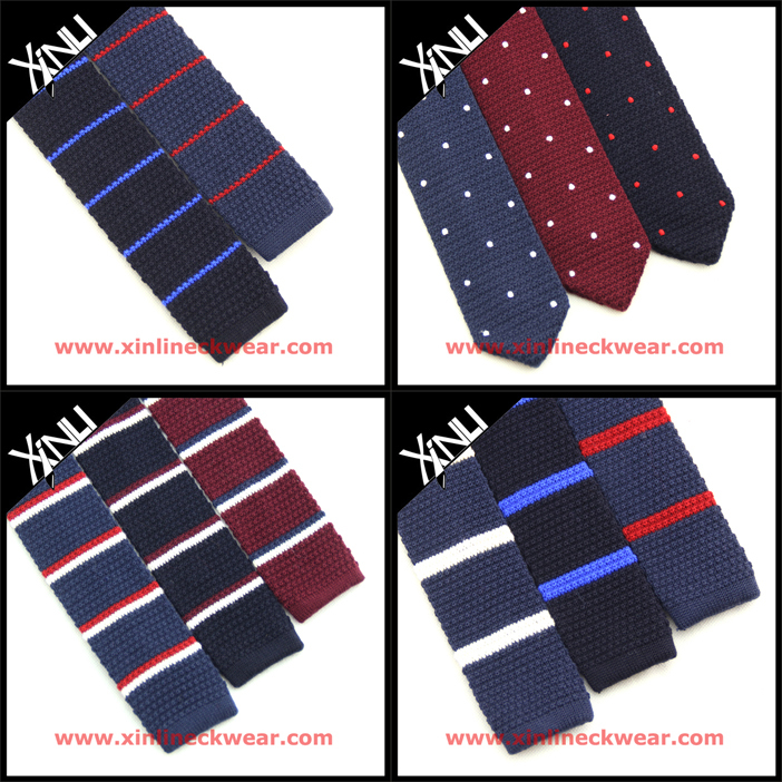 Polyester Knit Tie Pattern In Mixed Two Colors Yarns Rayon Knitted