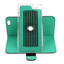 Nice Outlooking Wallet Black+Green PU Leather Stand Case Cover for iPhone 6