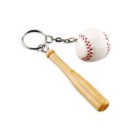 wooden baseball set keyring / wooden baseball bat key chains