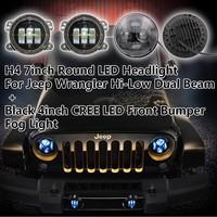 H4 7inch Round LED Headlight For Jeep Wrangler Dragon Hi-Low Dual Beam + Black 4inch LED Front Fog Light