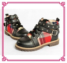 Brand New Boys Leather Casual Boots Children Buck Strap Lace-Up Round Toe Martin Boots Wholesale Kids Boots