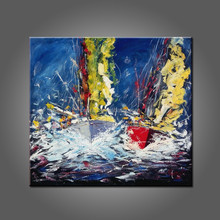 Abstract Design High Quality Hand Painted Abstract Oil Painting Sailing Boat On Canvas Boat Oil Paintings Wholesale