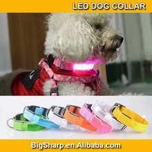 LED crystal lattice reflections Dog Nylon Flashing Glow New Pet Light Safety Collar night sport safety collar 7 Colors DC-2521