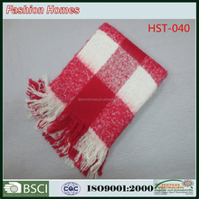 Red color fashion design polyester throw and blanket
