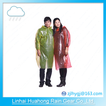 PE PEVA transparent pullover raincoat