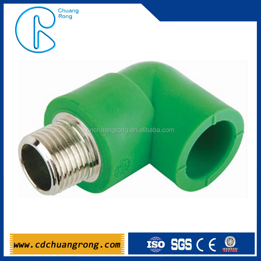 Ppr pipe fitting copper thread male elbow for water