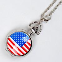Fashion American flag antique pocket watch brands wholesale 6078