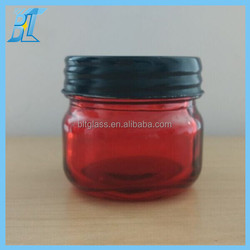 100ml red color glass jar with black screw lid