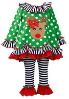 childrens autumn clothing sets wholesale boutique long sleeve top with red ruffles and stripe pants girls christmas sets