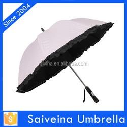 fashion fan umbrella with lace outdoor high quality anti-uv umbrella