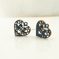 DIY Wholesale Blue Painted Filigree Heart Pendant Charm T0520