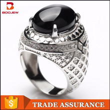 2015 Indonesia fashion high quality jewelry classical lattice pattern black agate silver men ring import from china