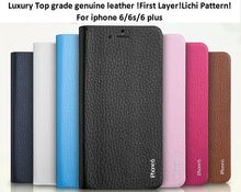luxury top grade genuine real leather flip wallet case for iphone 6, phone cover for iphone 6