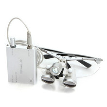 Silver 2.5X 3.5X 320mm 420mm Dentist Surgical Medical Binocular Dental Loupes with LED Head Light Lamp