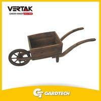 Professional garden supplier cheap wooden garden flower pot with wheel