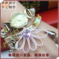 Original design or lend students crystal bracelet table set auger ribbons of female fashion ladies watch table manufacturer