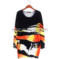 2015 Spring Women graffiti printing money long sweater loose sweater 9044