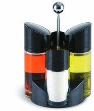 SINOGLASS trade assurance 4pcs salt and pepper rack set clear glass oil and vinegar cruet