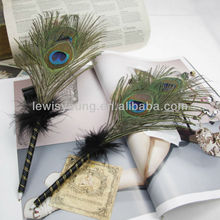 peacock feather pen,wedding decoration peacock feather pen