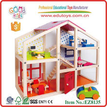 Hot sale Yiwu Xiangtiange wooden play house doll house wooden pretend house toys for kids
