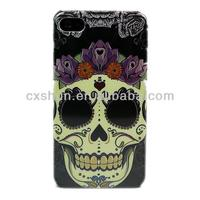 Skull Flower Hard Skin Case Cover for Apple Iphone 4 4s GEN + One Headset Winder