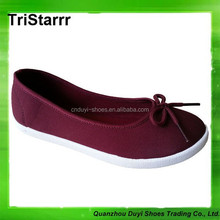 2014 cheap new design casual flat canvas lady dance shoes pvc injection outsole