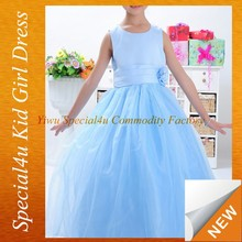 Blue color girls long dress latest design baby frock SFUBD-920
